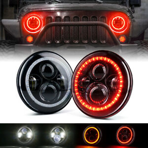"""Xprite 7"""" Inch 90W LED Headlight Kit w/ Red Halo for 1997-2018 Jeep Wrangler JK"""