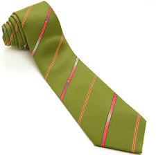 CHARLES JOURDAN 55L Olive Green Red Orange Light Gray Striped Silk Mens Neck Tie