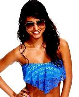 Hula Honey Crochet Flounce Bikini Top Blue/Mint Size X-Small