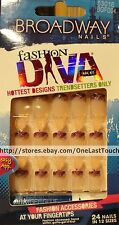 BROADWAY* FASHION DIVA 24 Glue-On Nails STRUT Purple Tips+Shimmer SHORT #53016