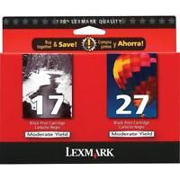 Lexmark 17 & 27 Ink Cartridges Genuine NIB - Combo Pack - Black/ Color - Red Box