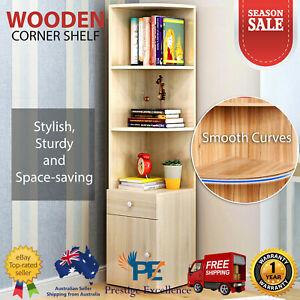 White Wooden Oak Corner Shelf Cabinet Drawer 3 Tier Bookshelf Photo Display Case