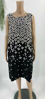 Lauren Ralph Lauren Sheath Dress Womens Plus 14W Black White Printed Sleeveless