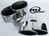 Pair Of Large Twin Oval Chrome Exhaust Tailpipe Stainless Steel Sport Trim Tips