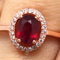 Genuine Oval Red Ruby Diamond Halo Ring Women Anniversary 14K Rose Gold Plated