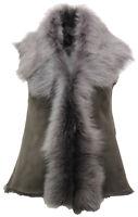 Women's Short Luxurious Grey Toscana Shearling Sheepskin Gilet