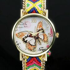 Bracelet Analog Wrist Watch Vintage Plait Crystal Lady Girl Women Butterfly Gift
