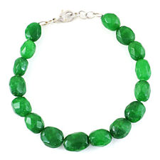 145.00 Cts Earth Mined Green Emerald Faceted Oval Shape Beads Handmade Bracelet