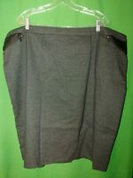 2097) CALVIN KLEIN sz 24W gray black pencil skirt below knee pleather accent 24W