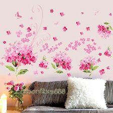 Pink Hydrangea Flowers Wall Stickers Removable Art Decor Floral Mural Girls