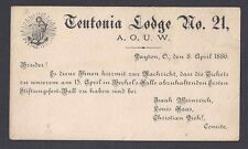 1886 TEUTONIA LODGE #21 A.O.U.W.INVITATION TO A BALL WRITTEN IN GERMAN DAYTON OH