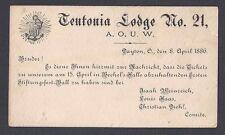 1886 TEUTONIA LODGE #21 A.O.U.W.INVITATION TO A BALL WRITTEN IN GERMAN DAYTON OH