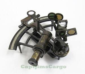 "Large Brass Sextant Kelvin & Hughes 8"" w/ Wooden Case Antiqued Nautical Decor"