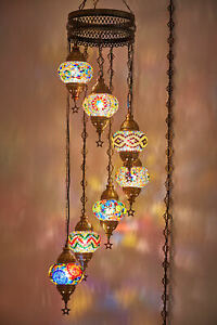 7 Globes Turkish Moroccan Plug In Swag Ceiling Hanging Lamp Light Chandelier
