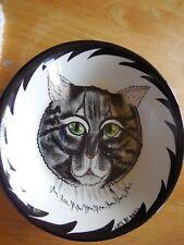 "Cats By Nina Blk/Grey Tabby Cat With Green Eyes Bowl Ceramic 8"""
