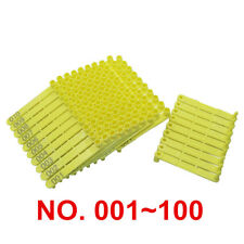 Plastic Yellow Poultry Wings Tags Numbered 1-100 Chicken Identification Markers