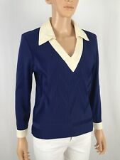Vintage 80s Pullover Contrast Collared Deep V Blouse Chevron Crinkle Disco Top M