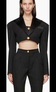 Authentic Balmain Cropped Wool Blazer Spencer Jacket Black Size 38