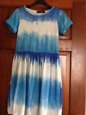Ladies Blue Misguided Skater Dress ,Tie Dye Pattern Size 8