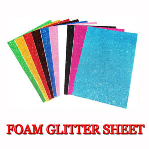 Fine Glitter Fabric A4 Sheet Foam letter In Shiny Colours For Hair Bows & Crafts