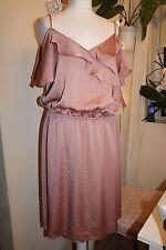 Vestido de fiesta NEXT-Vintage-rosa rosa brillo romántico de hombro abierto UK16 Nuevo