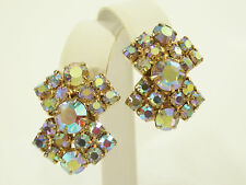 SPARKLING Aurora Borealis Rhinestone Clip Earrings AB Vintage PARTY Prom Evening