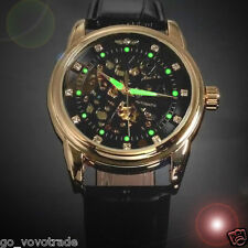 Men's Classic Transparent Waterproof Skeleton Mechanical Leather Military Watch
