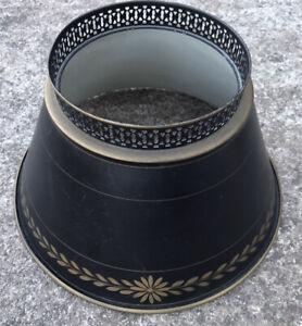 Vintage Mid Century 1960's Black & Gold Tole Metal Lamp Shade