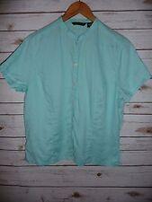 Eddie Bauer Large tall Blouse Linen Women's Top Shirt Career Casual aqua Blue