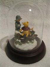 RARE CLASSIC WINNIE THE POOH AND PIGLET ON FENCE FIGURINE WITH GLASS COVER