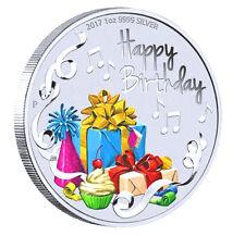 2017 Australia Happy Birthday 1oz $1 Silver dollar Coin Colorized