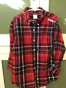 Gymboree Boys Holiday Plaid Button Up Dress Shirt Size 10-12 Red Check Black