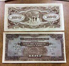 {BJSTAMPS} WW2  JAPANESE INVASION MONEY MALAYA ONE HUNDRED DOLLARS, M8 EF