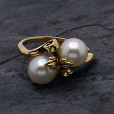 Mikimoto Pearl Lady's Stone Ring 18K Yellow Gold