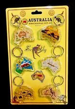 6 Australian Map Kangaroo Outback Souvenir  Keychain Australia Animals Road Sign
