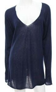 Donna Karan Black Label Collection Womens L Large Navy Blue Cashmere Sweater EUC