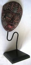 Vtag Wooden Hand Carved Painted Javanese Tribal Mask on wrought iron & wood base