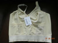 Vintage Beautful Beige LONGLINE  Bra 38C Crown-ette wire-free Long Line NWT