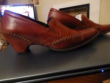 PIKOLINOS BROWN LEATHER COURT SHOE TOP STITCH DETAIL INTEGRATED HEEL SIZE 40