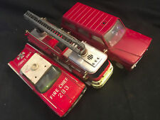 Old Vtg Mixed Fire Department Lot Of 3 Tonka Fire Chief, New Bright Truck , Car