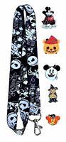 Halloween Themed Lanyard Set with 5 Walt Disney World Park Trading Pins - NEW