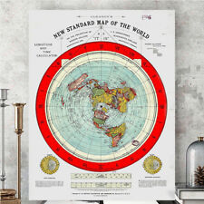 Flat Earth Map - Gleason's New Standard Map Of The World - Love Travel! 1892