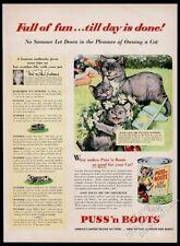 1953 Manx cat kitten art Puss N Boots cat food vintage print ad