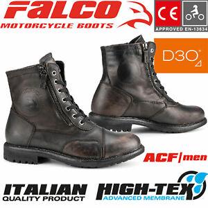 FALCO Stiefel AVIATOR schwarz Motorradschuhe CE Leder Doppel-Reißverschluss D3O