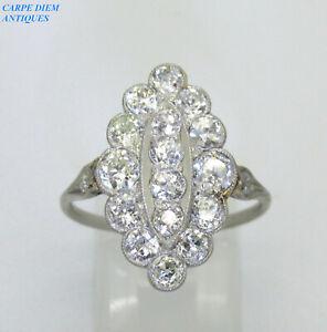 LUXURY DAZZLING ART DECO 2.26CT OLD CUT DIAMOND NAVETTE PLATINUM RING UK M 1/2
