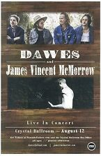 DAWES & JAMES VINCENT McMORROW 2015 POSTER Gig Portland Oregon Concert