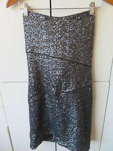 BARDOT Sz 14 Gunmetal Grey Strapless Sequinned Club / Party Dress EC