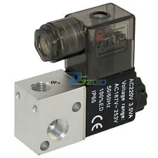 "1/8"" AC 220V 3 way 2position Pneumatic Electric Solenoid Valve NPT Air Aluminum"