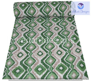 Handmade Cotton Vintage Block Queen/Double Kantha Quilt Indian Bedspread