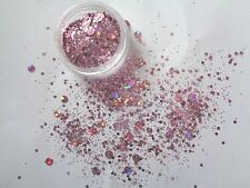3g POT NSI PINK HOLOGHRAPHIC  PRE-MIXED ACRYLIC POWDER WITH SEQUIN /DISCS /DOTS